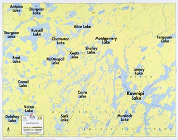 F-25: Kawnipi Lake, Russell Lake - Fisher Maps on