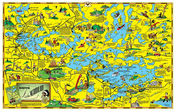 C3 Large Lake Vermilion Cartoon Map Fisher Maps