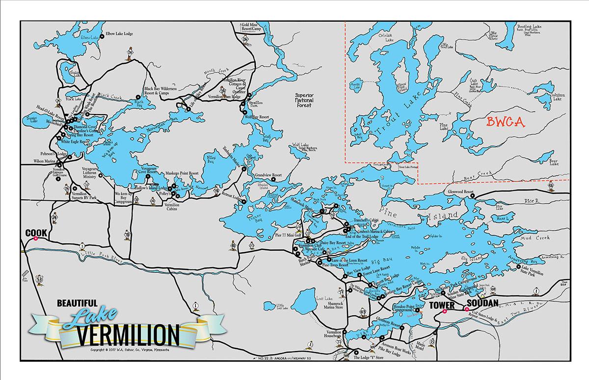 lake vermilion fishing map C 6 Large Lake Vermilion Classic Map Fisher Maps lake vermilion fishing map