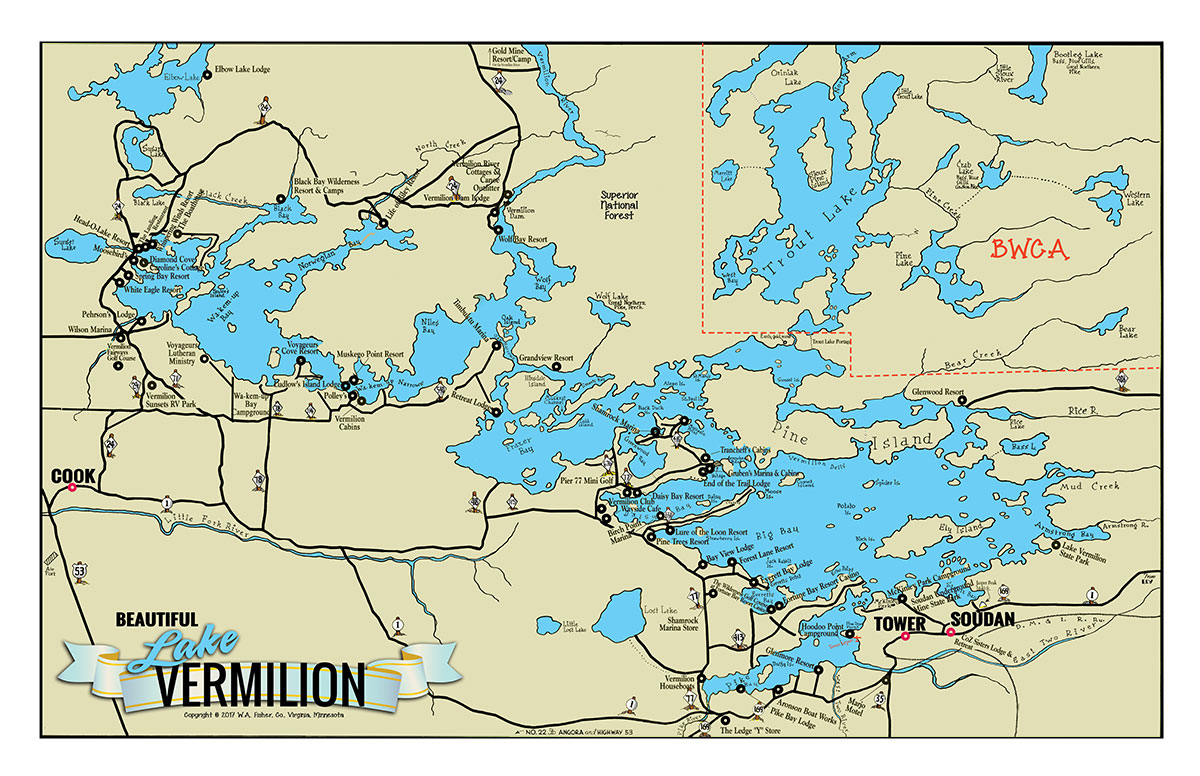 Lake Vermillion Minnesota Map.C 6 Large Lake Vermilion Classic Map Fisher Maps